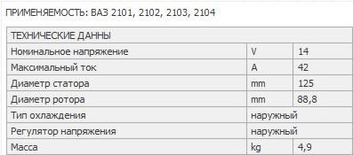 Характеристики 42-х амперного генератора ВАЗ