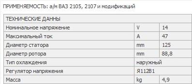 Характеристики 47-ми амперного генератора ВАЗ