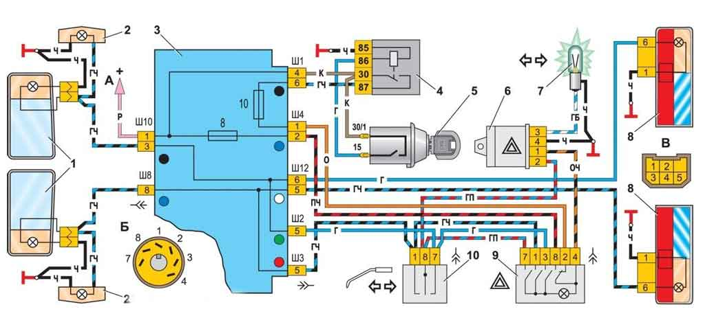 Схема электрооборудования поворотов ВАЗ 2107