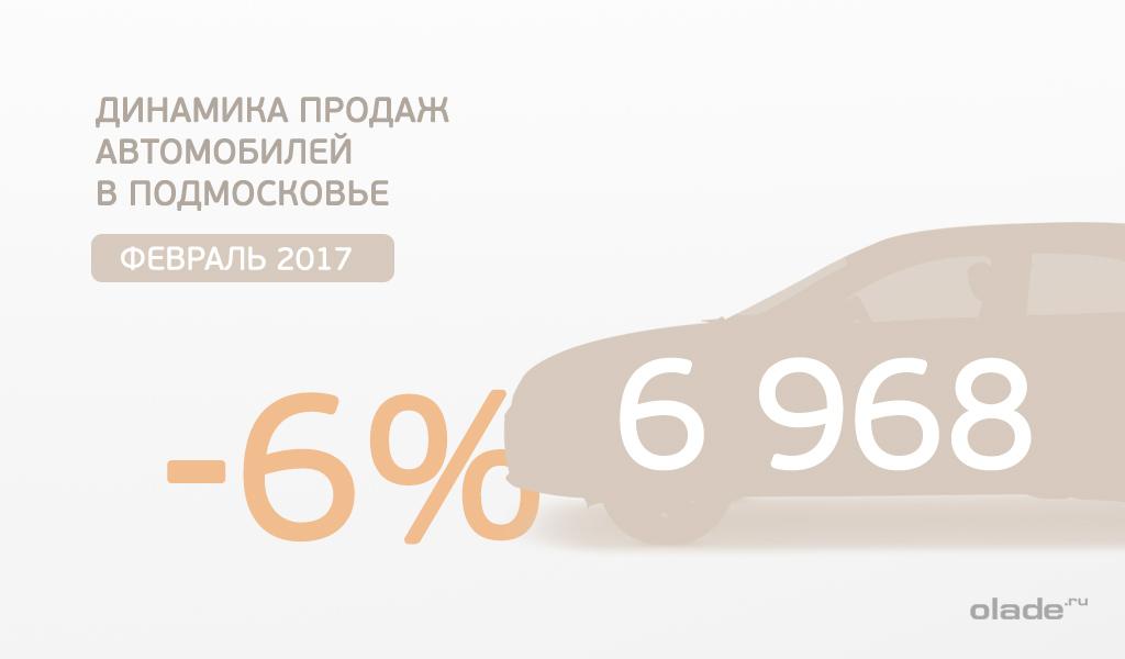 Снижение февральской динамики продаж автомобилей  в Подмосковье составило 6%