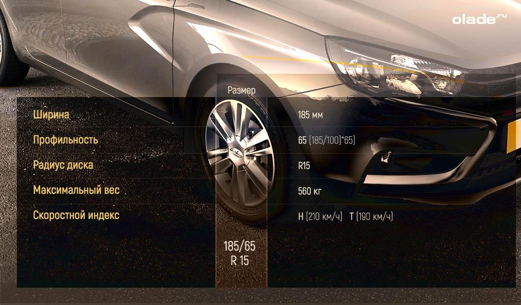 Размер колес Лада Веста, оригинальные шины