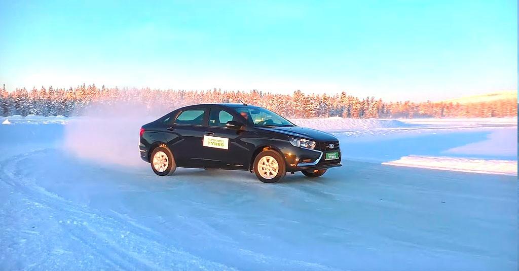 Как ведет себя Vesta на льду с использованием ABS и ESP? (фото 3)