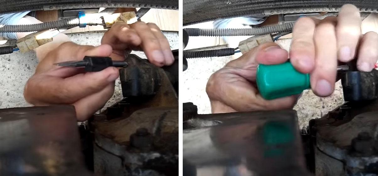 Замена датчика положения коленвала на Ладе 4x4: открутите винт крепления (фото 2)