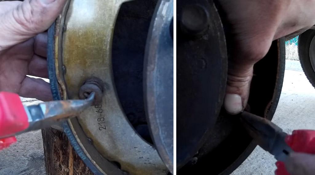 Замена задних тормозных колодок на Ладе 4х4, открутите стойки
