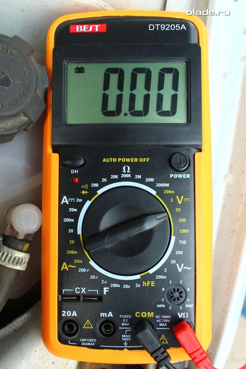Проверка аккумулятора и генератора мультиметром (фото 1)