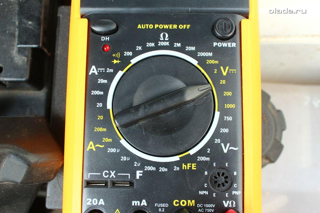 Проверка аккумулятора и генератора мультиметром (фото 3)